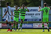 Forest Green Rovers Keanu Marsh-Brown(7)scores a goal 1-0 and celebrates during the Vanarama National League match between Forest Green Rovers and Maidstone United at the New Lawn, Forest Green, United Kingdom on 22 April 2017. Photo by Shane Healey.