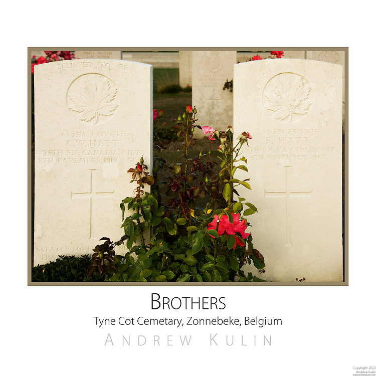 The gravesites of two Canadian soldiers, brothers from Lunenberg, Nova Scotia.  Killed two days apart as the Canadian Corps was capturing the village of Passchendaele and the ridge.  This marked an end to the Third Battle of Ypres (commonly referred to the Battle of Passchendaele), which began late July 1917 and ended mid-November 1917....original image size 3840x3840..Tyne Cot Cemetary is the largest Commonwealth war cemetrary in the world.