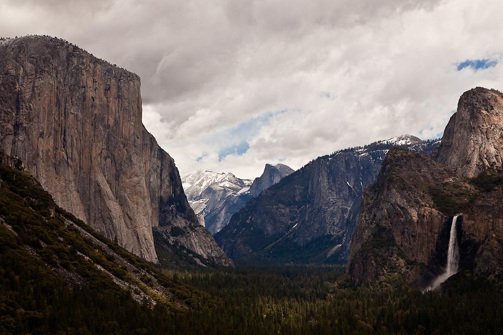 Yosemite waterfall stormy day