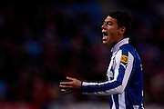 MADRID, SPAIN- FEBRUARY 24: Hector Moreno of RCD Espanyol reacts during the Liga BBVA between Atletico de Madrid and RCD Espanyol at the Vicente Calderon stadium on February 24, 2013 in Madrid, Spain. (Photo by Aitor Alcalde Colomer).
