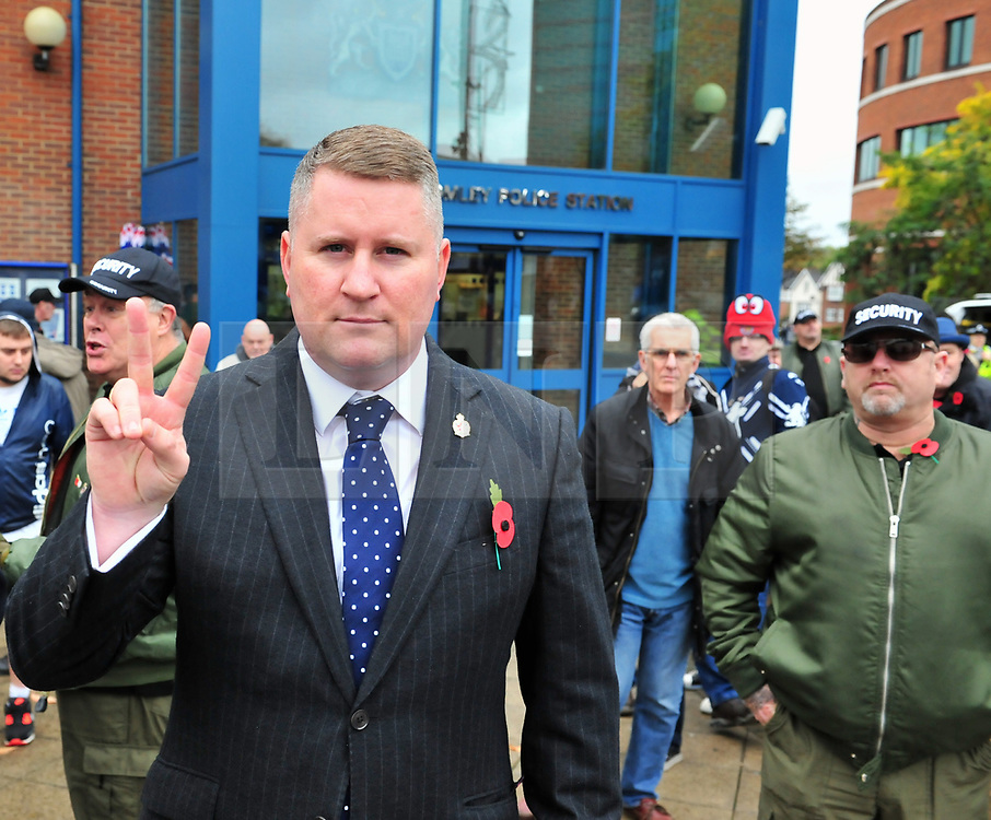 &copy; Licensed to London News Pictures.04/11/2017.<br /> BROMLEY, UK.<br /> Britain First hold a Persecuted Patriots Rally outside Bromley Police Station, Bromley South.Party Leader Paul Golding and his deputy Jayda Fransen have to sign on bail every Saturday 2pm at Bromley Police station.<br /> Photo credit: Grant Falvey/LNP