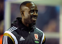 Middlesbrough's Albert Adomah smiles - Photo mandatory by-line: Dougie Allward/JMP - Mobile: 07966 386802 - 18/02/2015 - SPORT - Football - Birmingham - ST Andrews Stadium - Birmingham City v Middlesbrough - Sky Bet Championship