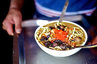 Thukpa, a Tibetan noodle soup, made with meat and hot sauce, is served in a small restaurant in the village of Giabong in the Ropa Valley of Himachal Pradesh, India