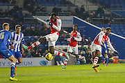 Arsenal's Alex Iwobi shoots at goal during the Barclays U21 Premier League match between Brighton U21 and Arsenal U21 at the American Express Community Stadium, Brighton and Hove, England on 1 December 2014.