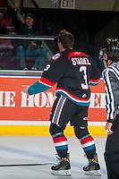 KELOWNA, CANADA - OCTOBER 26: Riley Stadel #3 of the Kelowna Rockets gestures to the fans against the Victoria Royals on October 26, 2016 at Prospera Place in Kelowna, British Columbia, Canada.  (Photo by Marissa Baecker/Shoot the Breeze)  *** Local Caption ***