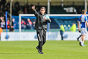 Bristol Rovers manager, Darrell Clarke gives the thumbs up to the fans at the final whistle during the Sky Bet League 2 match between Bristol Rovers and Exeter City at the Memorial Stadium, Bristol, England on 23 April 2016. Photo by Shane Healey.