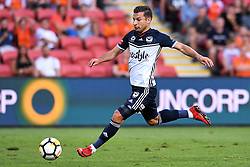 December 17, 2017 - Brisbane, QUEENSLAND, AUSTRALIA - Kosta Barbarouses of Melbourne Victory (9) scores a goal during the round eleven Hyundai A-League match between the Brisbane Roar and the Melbourne Victory at Suncorp Stadium on Sunday, December 17, 2017 in Brisbane, Australia. (Credit Image: © Albert Perez via ZUMA Wire)
