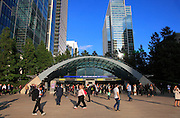 UK, London, Docklands, Commuters outside Canary Wharf tube station.<br /> September 2014<br /> <br /> &copy; Zute Lightfoot Photography