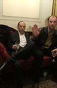 Mick Jones and James Mullord. Book launch party for 'Strangeland' by Tracey Emin.  33 Portland Place. London. 21 October 2005. ONE TIME USE ONLY - DO NOT ARCHIVE © Copyright Photograph by Dafydd Jones 66 Stockwell Park Rd. London SW9 0DA Tel 020 7733 0108 www.dafjones.com