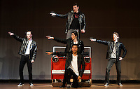 "Kenickie (Daniel Pinkham-Breslin) and the greasers with some Grease Lightnin' on stage during dress rehearsal for ""Grease"" at Winnisquam Regional High School Thursday afternoon.  (Karen Bobotas/for the Laconia Daily Sun)"