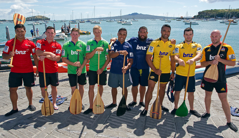 Crusaders' Jordan Taufua and Ryan Crotty, Highlanders' Colin Slade and Tony Ensor, Blues' Francis Saili and Charlie Faumuina, Hurricanes' Victor Vito and James Marshall with Chiefs Brendon Leonard  before the Wakaama Challenge at the launch of the 2013 Super Rugby Season, Auckland, New Zealand, Tuesday, February 12, 2013.  Credit:SNPA / David Rowland