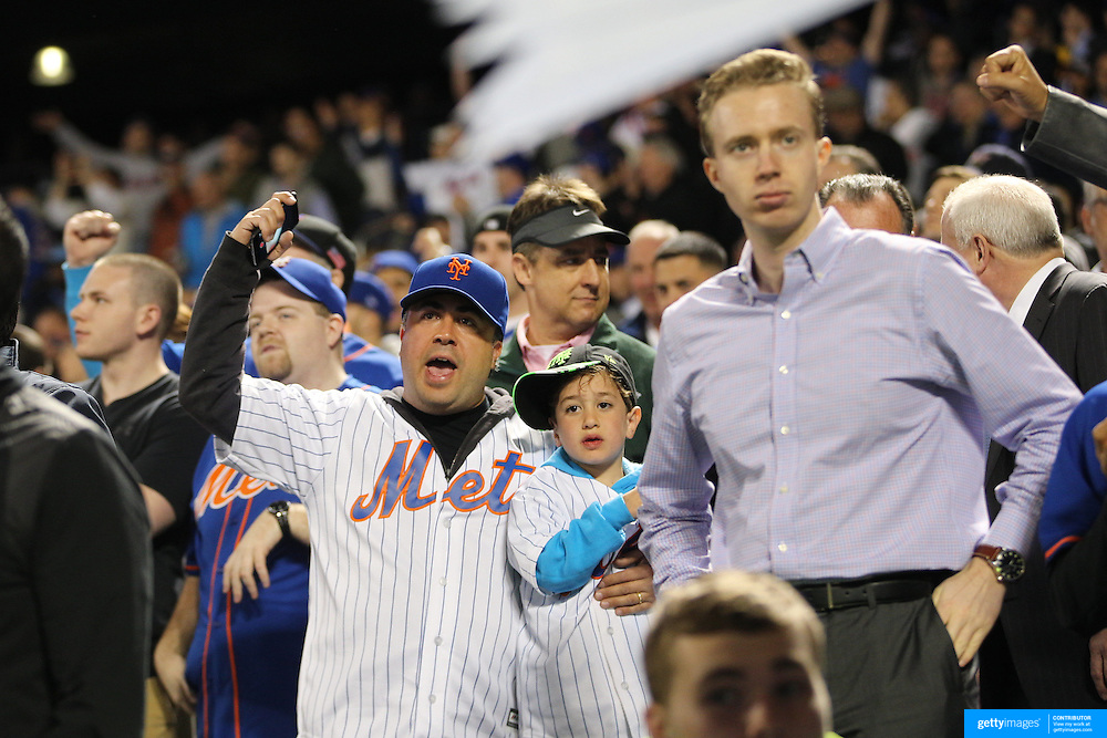 New York Mets fans fans during the New York Mets Vs Philadelphia Phillies MLB regular season baseball game at Citi Field, Queens, New York. USA. 14th April 2015. Photo Tim Clayton