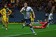 Preston North End Defender Marnick Vermijl celebrates making it 1-1 during the Sky Bet Championship match between Preston North End and Fulham at Deepdale, Preston, England on 5 April 2016. Photo by Pete Burns.