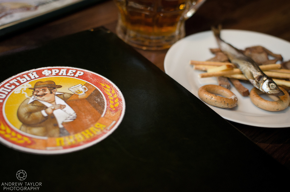 Fish and beer at the Fat Frier, Liteyny