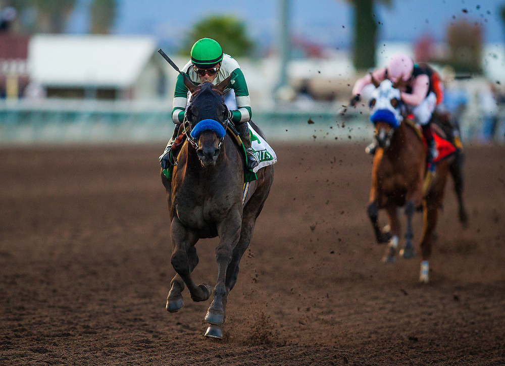 December 19, 2015:  Mor Spirit with jockey, Gary Stevens wins the Futurity at Los Alamitos Race Track in Cypress California. Evers/ESW/CSM