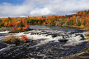 Autumn at Soo Falls in Walden Township, Northern Ontario, Canada.