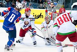 Ziga Jeglic of Slovenia shots on goal during ice-hockey match between Slovenia and Belarus of Group G in Relegation Round of IIHF 2011 World Championship Slovakia, on May 8, 2011 in Orange Arena, Bratislava, Slovakia. (Photo by Matic Klansek Velej / Sportida)