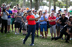 February 28, 2019 - Palm Beach Gardens, Florida, U.S. - JHONATTAN VEGAS hits his approach shot on the 9th hole during the first round of the Honda Classic Thursday at PGA National Resort and Spa. Vegas made par on the hole and finished the first round 6 under par. (Credit Image: © Allen Eyestone/The Palm Beach Post via ZUMA Wire)