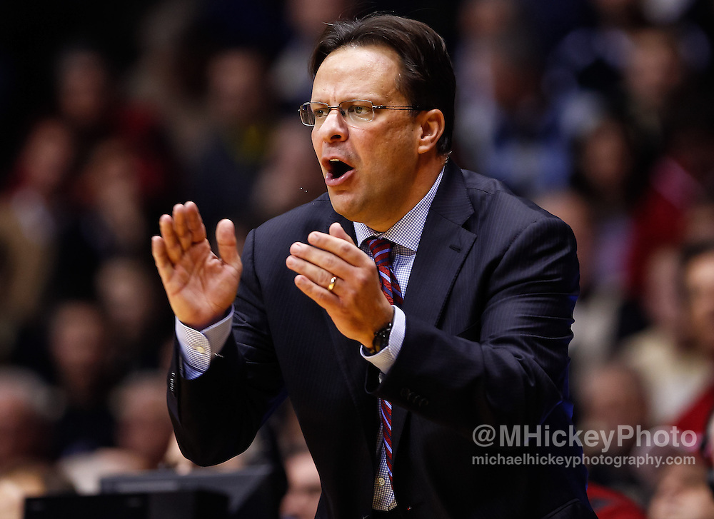 WEST LAFAYETTE, IN - JANUARY 30: Head coach Tom Crean of the Indiana Hoosiers seen during the game against the Purdue Boilermakers at Mackey Arena on January 30, 2013 in West Lafayette, Indiana. Indiana defeated Purdue 97-60. (Photo by Michael Hickey/Getty Images) *** Local Caption *** Tom Crean