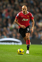 MANCHESTER, ENGLAND - Wednesday, November 10, 2010: Manchester United's Wes Brown during the Premiership match at the City of Manchester Stadium. (Pic by: Chris Brunskill/Propaganda)