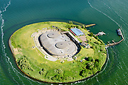 Nederland, Noord-Holland, Pampus, 13-06-2017; Forteiland Pampus in het IJmeer, onderdeel van de Stelling van Amsterdam. Rijksmonument, onderdeel van de Werelderfgoedlijst van Unesco.<br /> Fort Pampus Island in the IJmeer, part of the Defence Line of Amsterdam. Unesco World Heritage.<br /> luchtfoto (toeslag op standaard tarieven);<br /> aerial photo (additional fee required);<br /> copyright foto/photo Siebe Swart
