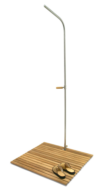 stand alone outdoor shower with a bamboo base