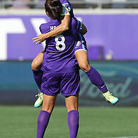 Orlando Pride forward Alex Morgan (13) celebrates after Orlando Pride forward Sarah Hagen (8) scores a goal during a NWSL soccer match at Camping World Stadium on May 8, 2016 in Orlando, Florida. (Alex Menendez via AP)