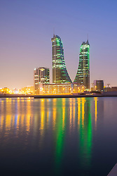 View of Bahrain Financial Harbour district at night  in Manama Bahrain