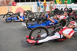 Cycling, Road Race, Start, H4, JEANNOT Joel, FRA, BOSREDON Mathieu, WILK Rafal, POL à Rio 2016 Paralympic Games, Brazil