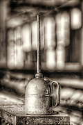 Oil can in silk mill