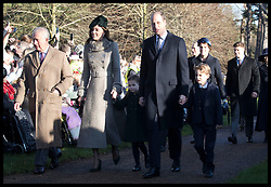 December 25, 2019, Sandringham, United Kingdom: Image licensed to i-Images Picture Agency. 25/12/2019. Sandringham, United Kingdom. Prince of Wales with Duke and Duchess of Cambridge , Prince George and Princess Charlotte arriving at  the Christmas Day church service at Sandringham in Norfolk, United Kingdom. (Credit Image: © Stephen Lock/i-Images via ZUMA Press)