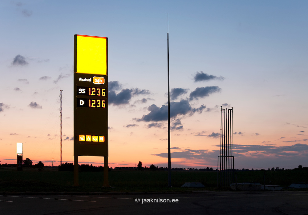 Gas station sign at night