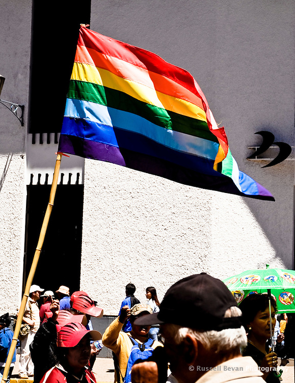 The people of Cusco fly their flag during a protest in Cusco, Peru