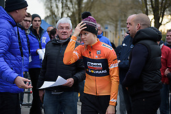Amalie Dideriksen makes her way to the podium but nobody is sure why after she's called to the podium in error at the Prologue of Festival Elsy Jacobs 2017. A 2.8 km individual time trial on April 28th 2017, in Cessange, Luxembourg. (Photo by Sean Robinson/Velofocus)