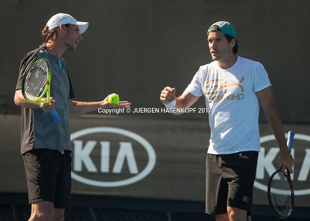 TOMMY HAAS (GER) und Trainer Christian Groh beim Training<br /> <br /> Australian Open 2017 -  Melbourne  Park - Melbourne - Victoria - Australia  - 15/01/2017.