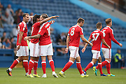 Nottingham Forest midfielder Henri Lansbury (10) scores a goal and celebrates to make the score 0-1 during the EFL Sky Bet Championship match between Sheffield Wednesday and Nottingham Forest at Hillsborough, Sheffield, England on 24 September 2016. Photo by Simon Davies.