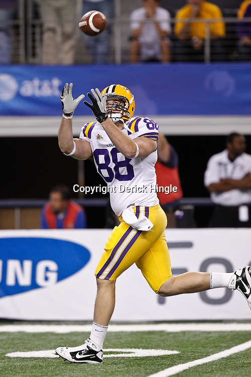 Jan 7, 2011; Arlington, TX, USA; LSU Tigers tight end Chase Clement (88) during warm ups prior to kickoff of the 2011 Cotton Bowl against the Texas A&M Aggies at Cowboys Stadium. LSU defeated Texas A&M 41-24.  Mandatory Credit: Derick E. Hingle