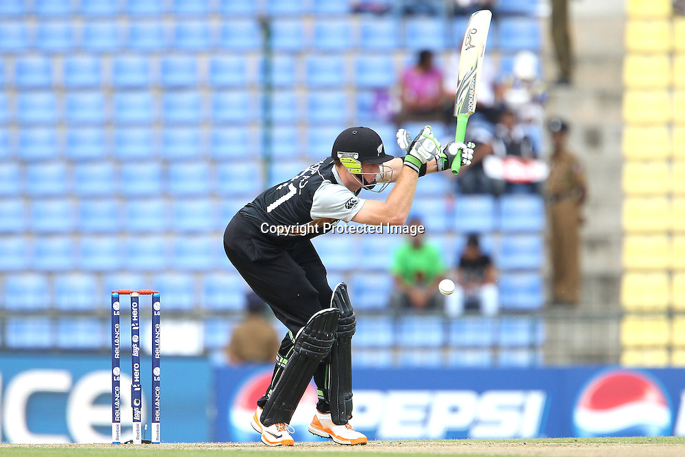 Martin Guptil is hit by a delivery from Mashrafe Mortaza during the ICC World Twenty20 Pool match between New Zealand and Bangladesh held at the  Pallekele Stadium in Kandy, Sri Lanka on the 21st September 2012<br /> <br /> Photo byRon Gaunt/SPORTZPICS/PHOTOSPORT