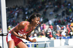April 28, 2018 - Philadelphia, Pennsylvania, U.S - NATRENA HOOPER (6) of UWI MONA,  reacts as she clears the bar at the CW high jump championship at the 124th running of the Penn Relays in Philadelphia Pennsylvania (Credit Image: © Ricky Fitchett via ZUMA Wire)