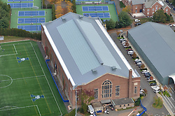 Aerial Photograph of Coxe Cage at Yale University, New Haven, CT. New Skylights and Roof renovation. October 2013