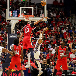 Oct 19, 2018; New Orleans, LA, USA; New Orleans Pelicans forward Anthony Davis (23) blocks a shot by Sacramento Kings guard Frank Mason III (10) during the second half at the Smoothie King Center. The Pelicans defeated the Kings 149-129. Mandatory Credit: Derick E. Hingle-USA TODAY Sports