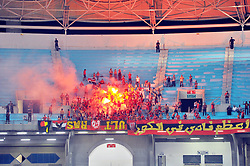 September 23, 2017 - Tunis, Tunisia - The joy of the supporters of Ahly after their qualification for the semi-final of the Champions League of the CAF during the African Champions league quarter final football match between Tunisan Esperance(EST) and Ahly Sporting Club of Egypt in Rades olympic stadium (Credit Image: © Chokri Mahjoub via ZUMA Wire)