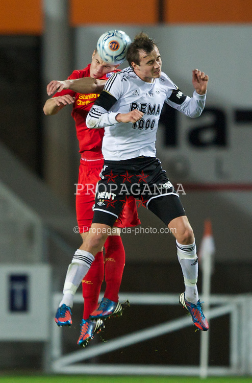 ST HELENS, ENGLAND - Tuesday, November 13, 2012: Liverpool's Jakub Sokolik in action against Rosenborg BK's Magnus Blakstad during the NextGen Series Group 5 match at Langtree Park. (Pic by David Rawcliffe/Propaganda)