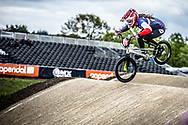 #971 (VALENTINO Manon) FRA during practice at Round 3 of the 2019 UCI BMX Supercross World Cup in Papendal, The Netherlands