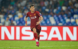 NAPLES, ITALY - Tuesday, September 17, 2019: Liverpool's Roberto Firmino during the UEFA Champions League Group E match between SSC Napoli and Liverpool FC at the Studio San Paolo. (Pic by David Rawcliffe/Propaganda)