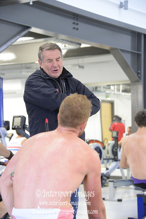 Caversham, Great Britain,   Jürgen GRÖBLER, chat's with Will SATCH, during an Ergo session at the Sherriff's Boathouse, Redgrave Pinsent Rowing Lake. GB Rowing Training centre. Wednesday  12/02/2014  [Mandatory Credit. Peter Spurrier/Intersport Images] O