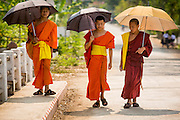 15 MARCH 2013 - ALONG HIGHWAY 13, LAOS:  Buddhist monks walk along a side street leading to Highway 13 in Luang Prabang, Laos. The paving of Highway 13 from Vientiane to near the Chinese border has changed the way of life in rural Laos. Villagers near Luang Prabang used to have to take unreliable boats that took three hours round trip to get from the homes to the tourist center of Luang Prabang, now they take a 40 minute round trip bus ride. North of Luang Prabang, paving the highway has been an opportunity for China to use Laos as a transshipping point. Chinese merchandise now goes through Laos to Thailand where it's put on Thai trains and taken to the deep water port east of Bangkok. The Chinese have also expanded their economic empire into Laos. Chinese hotels and businesses are common in northern Laos and in some cities, like Oudomxay, are now up to 40% percent. As the roads are paved, more people move away from their traditional homes in the mountains of Laos and crowd the side of the road living off tourists' and truck drivers.   PHOTO BY JACK KURTZ