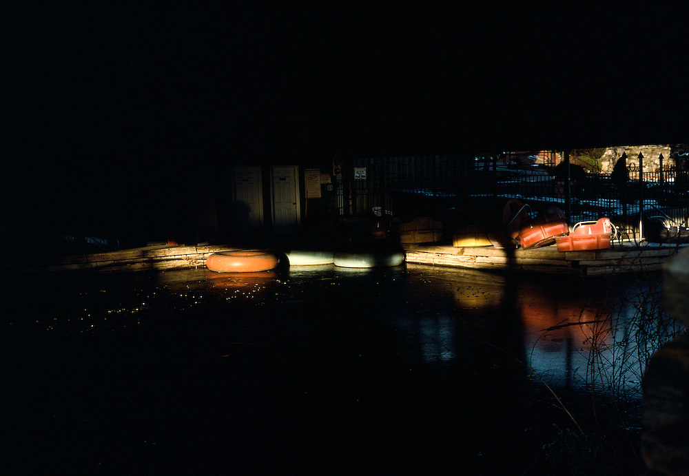 Bumper boats on ice in Plattsburgh, NY.