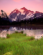Evening light over Mount Shuksan from Picture Lake, Heather Meadows Recreation Area WA USA