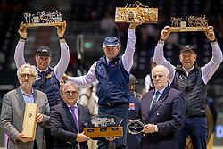 Podium Wolrtd Cup Final Driving, Boyd Exell, Koos de Ronde, IJsbrand Chardon<br /> Jumping International de Bordeaux 2020<br /> © Hippo Foto - Dirk Caremans<br />  09/02/2020